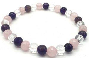 Bracelet Améthyste, Cristal, Quartz Rose perles 6mm