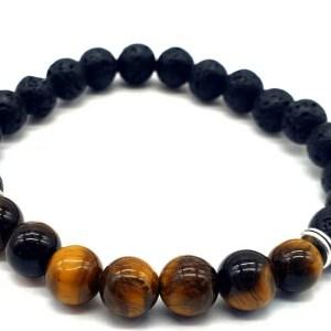 Bracelet Tigre & Lave 7-Mix perles 8mm HOMME
