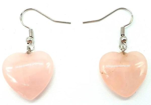 Boucles d'oreilles Coeur Quartz Rose 4cm