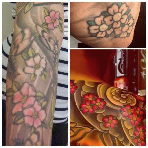 Fotokollage av tre foton med motiv föreställande körsbärsblommor.