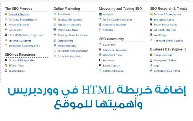"""كيفية انشاء خريطة HTML للموقع فى ووردبريس """"HTML Sitemap"""""""