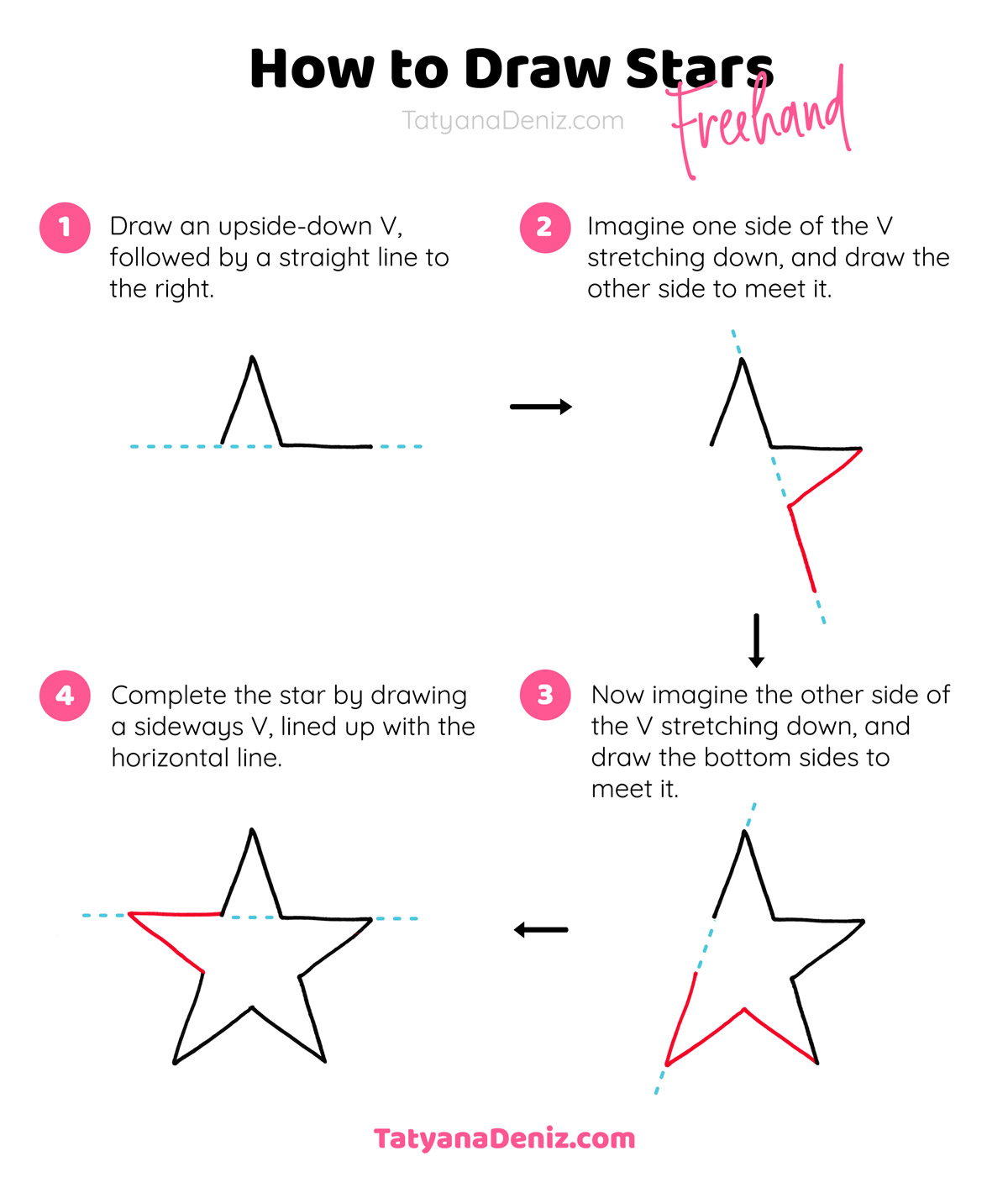 How To Draw A Star Freehand With Free Printable Worksheets