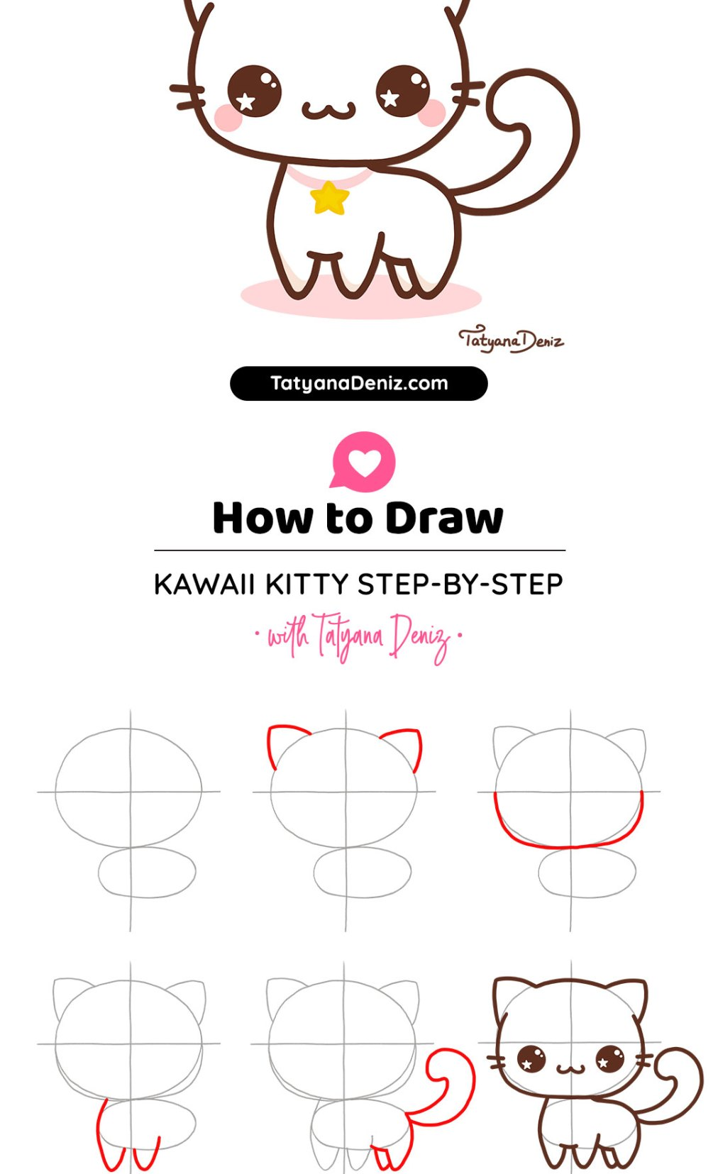 How to draw kawaii cat drawing tutorial