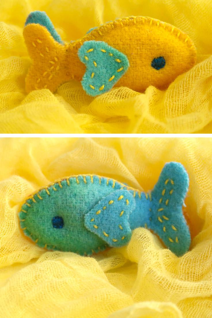 Hand sewn fish plush toy