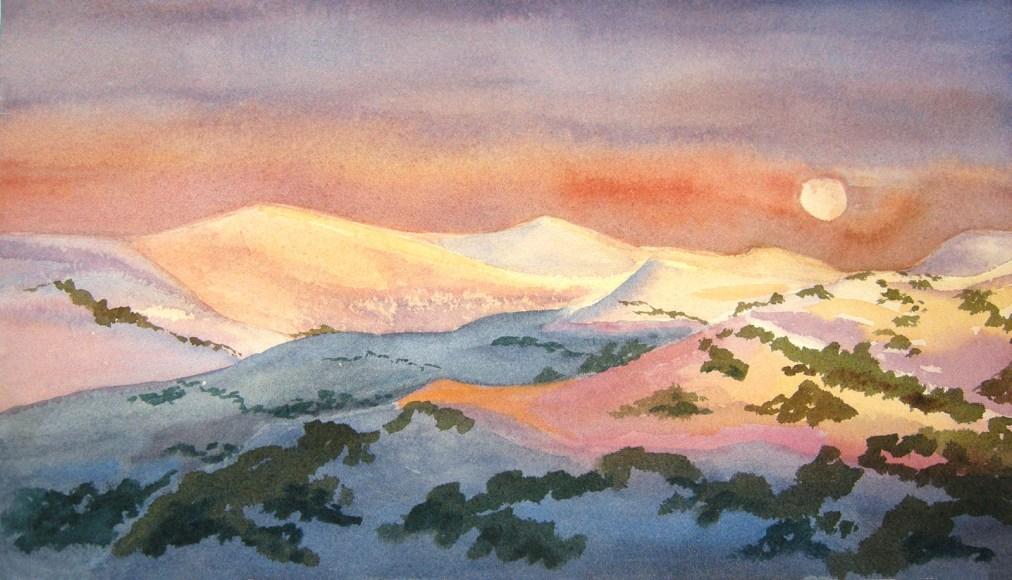 Australian Alps by Tatyana Deniz, watercolor on cotton, 2011
