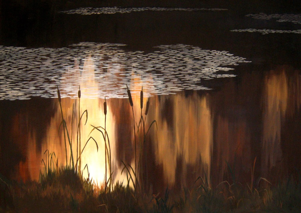 Sunset by the lake by Tatyana Deniz, oil on canvas, 2011