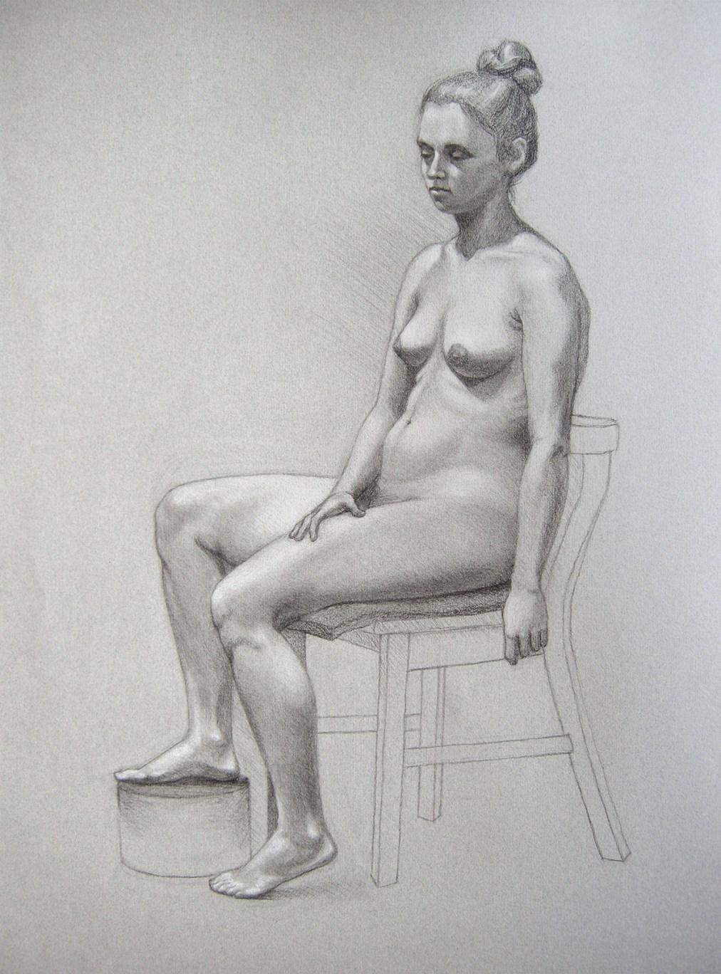 Lady seated by Tatyana Deniz, charcoal on paper, 2011