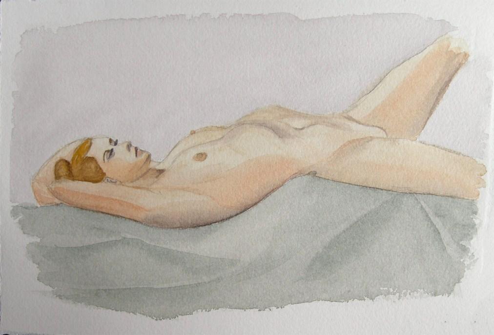 Restful by Tatyana Deniz, watercolor on cotton, 2011