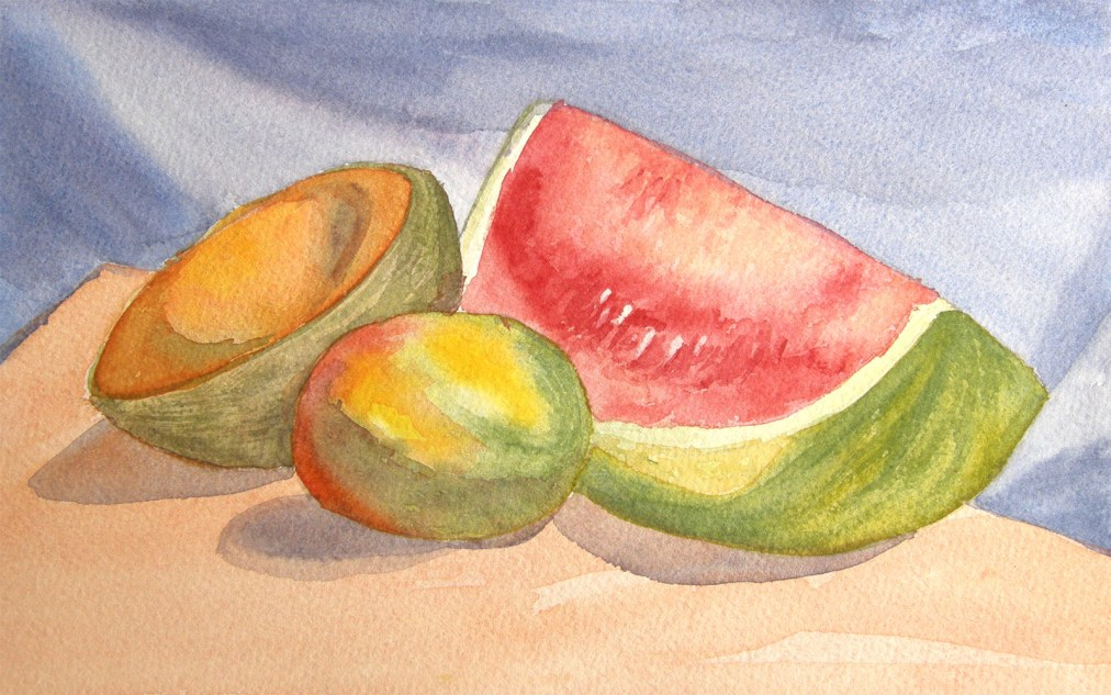 Still life with watermelon by Tatyana Deniz, watercolor on cotton