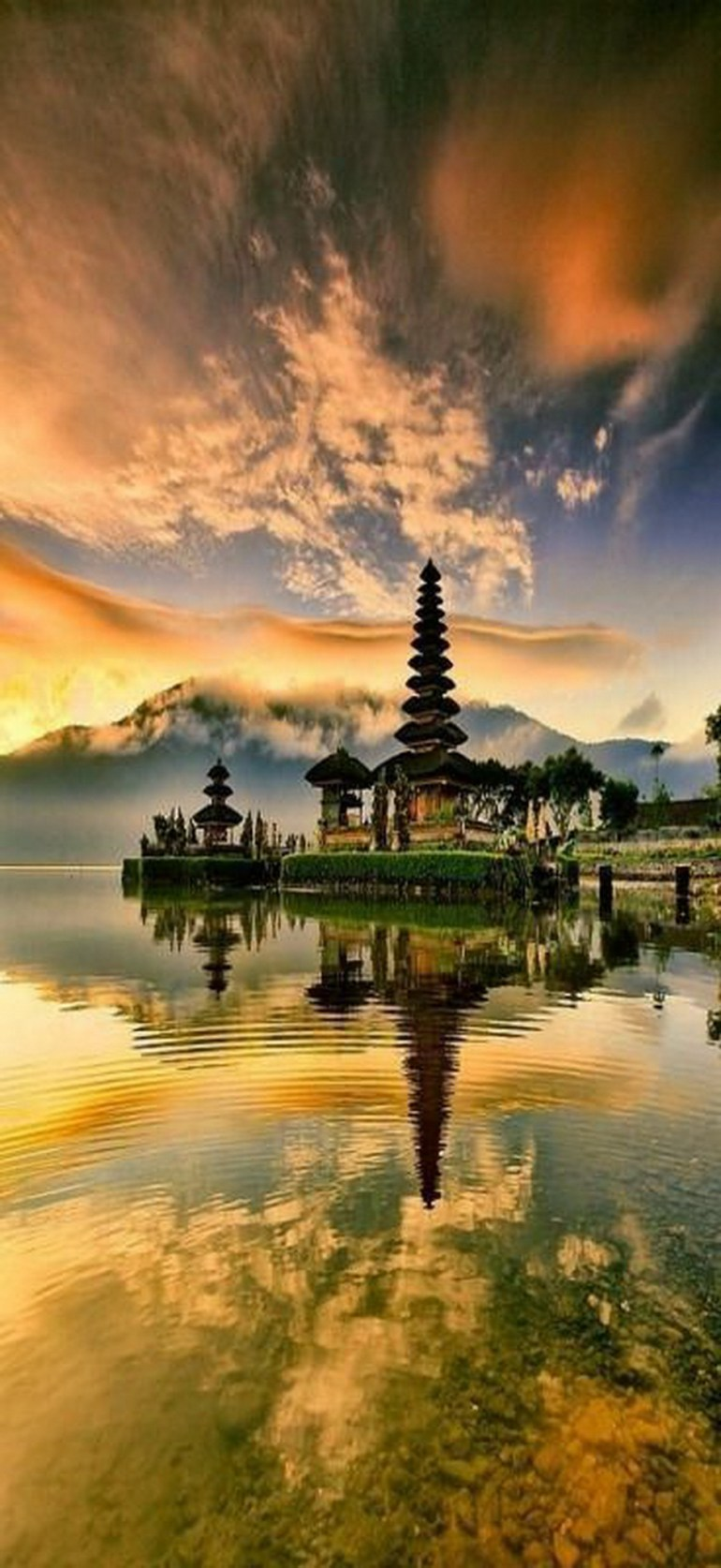 Tabanan Temple Tabanan Indonesia - Cloud, Landscape, Natural landscape, Nature, Outdoor structure, Pagoda, Reflection, Sunset, Water resources, Watercourse