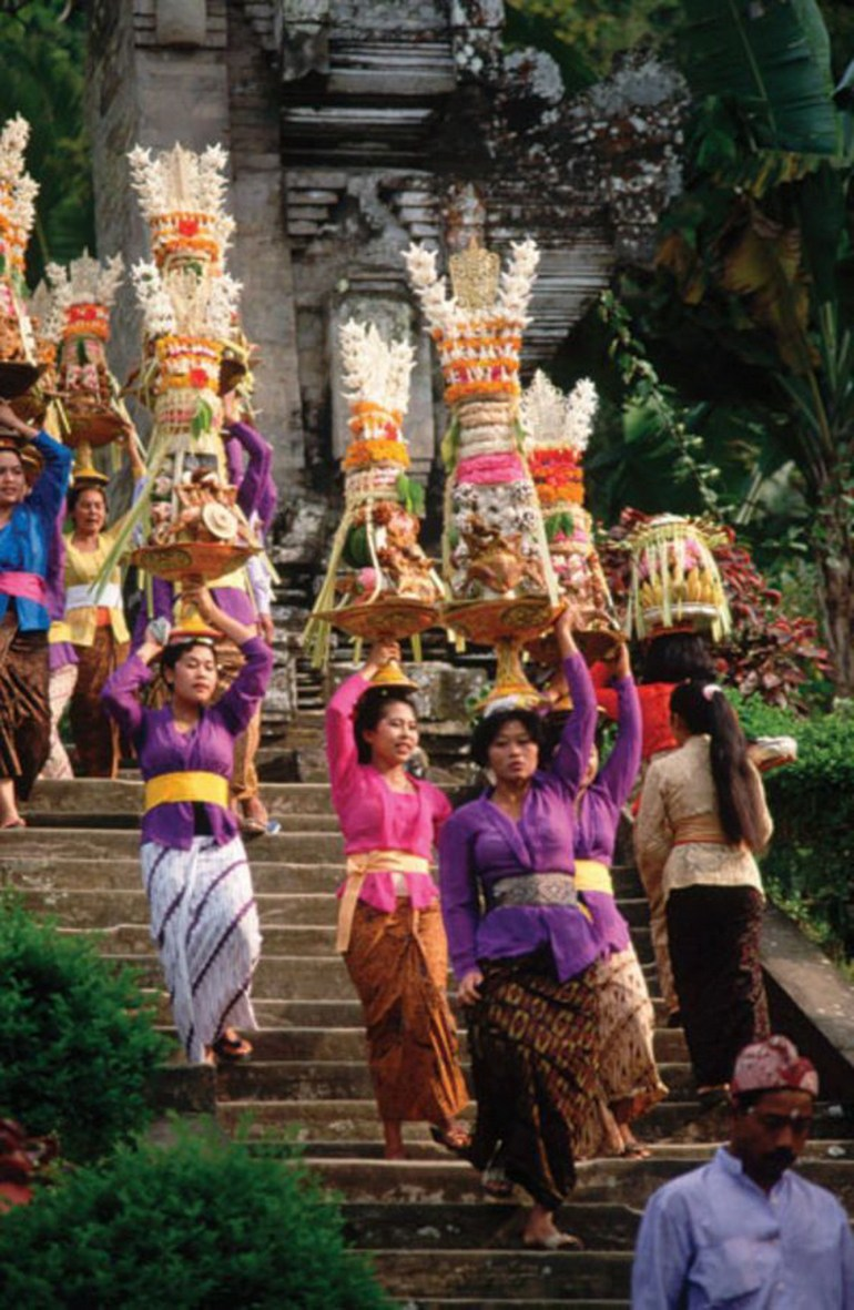 Ubud Gianyar Indonesia - Abdomen, Festival, Outdoor structure, Palm tree, People, Person, Place of worship, Ritual, Temple, Tradition, Trunk