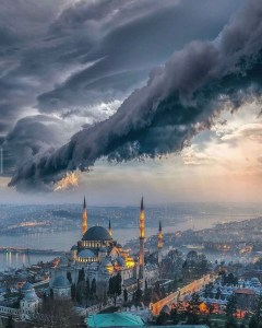 The Blue Mosque, Fatih Istanbul Turkey - Aerial photography, City, Cloud, Mosque, Sky