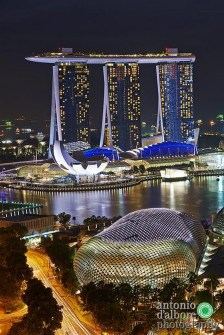 Gardens by the Bay, Singapore Central Singapore - Aerial photography, Night
