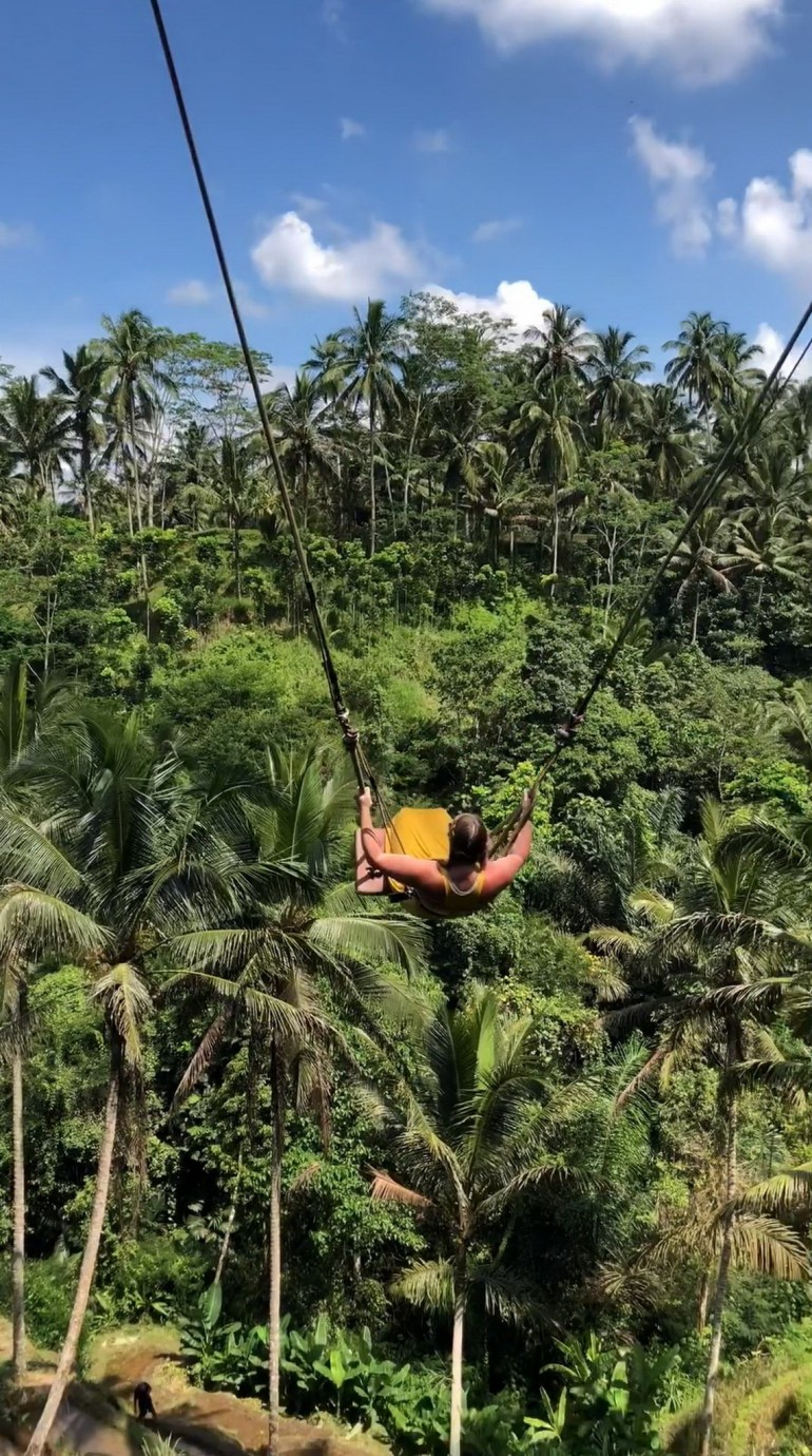 Bali Swing  Indonesia - Adventure, Forest, Jungle, Natural environment, Nature, Outdoor structure, Person, Rope, Terrestrial plant, Tree, Vegetation, Woody plant