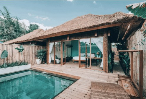 Ubud, Gianyar Bali Indonesia - Fluid, House, Outdoor structure, Property, Real estate, Resort, Roof, Rural area, Swimming pool, Tile, Turquoise, Water