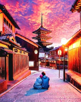 Kyoto, Japan - Blue, Chinese architecture, Cloud, Dusk, Morning, Orange, Person, Purple, Red, Sky, Travel, World