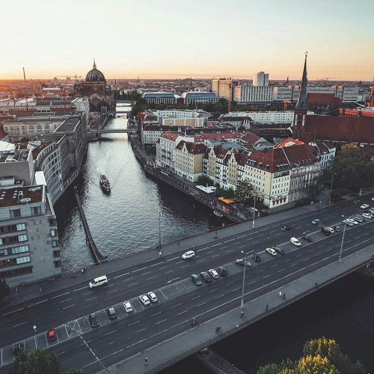 Berlin, Berlin Germany - Boat, Body of water, Building, Car, Cityscape, Daytime, Dusk, Infrastructure, Sky, Tower, Tower block, Urban design, Vehicle, Water, Water resources, Watercraft, Waterway
