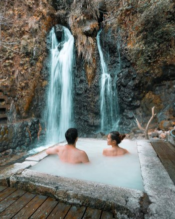 Beppu, Oita Prefecture Japan - Body of water, Chute, Fluvial landforms of streams, Human body, Leg, Leisure, Natural landscape, Person, Spring, Sunlight, Water, Water resources, Watercourse, Waterfall