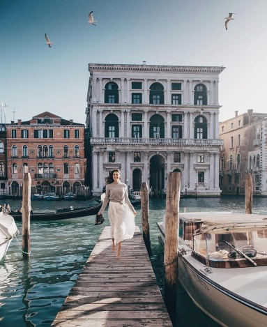 San Marco, Venice Italy - Architecture, Azure, Bird, Boat, Body of water, Building, Daytime, Dress, Morning, Person, Photograph, Sky, Travel, Vehicle, Water, Watercraft, Wedding dress, White, Window