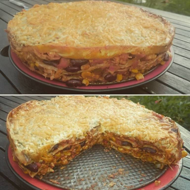 Mexicano Tortilla Lasagne with chicken from the grill