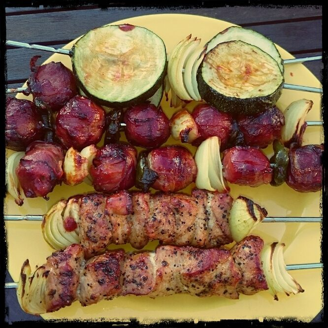 Germany Rodizio: Pork,  moinkballs, onions and summer squash on the skewer