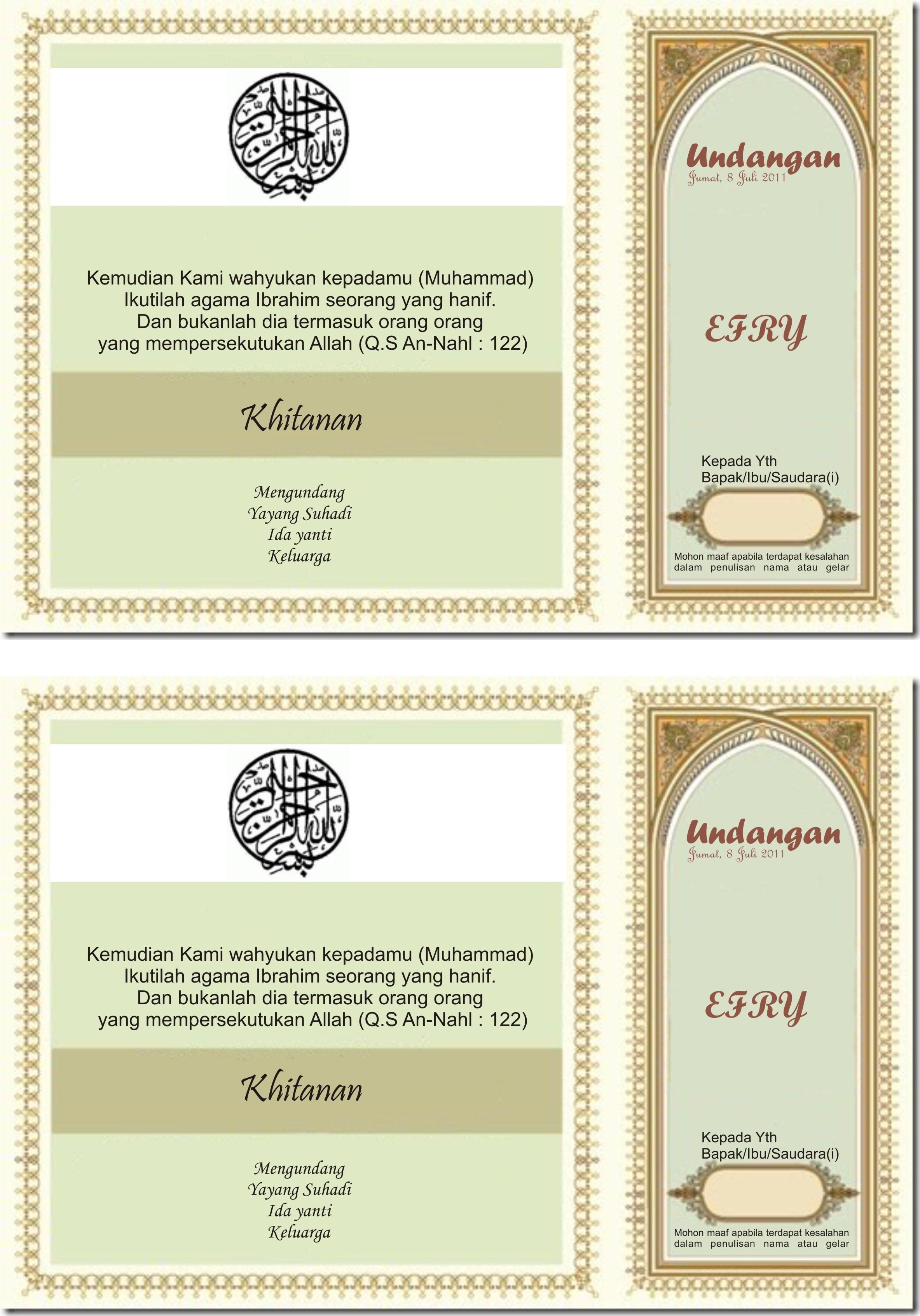 Contoh Undangan Sunatan Taufik Irawan Official Site