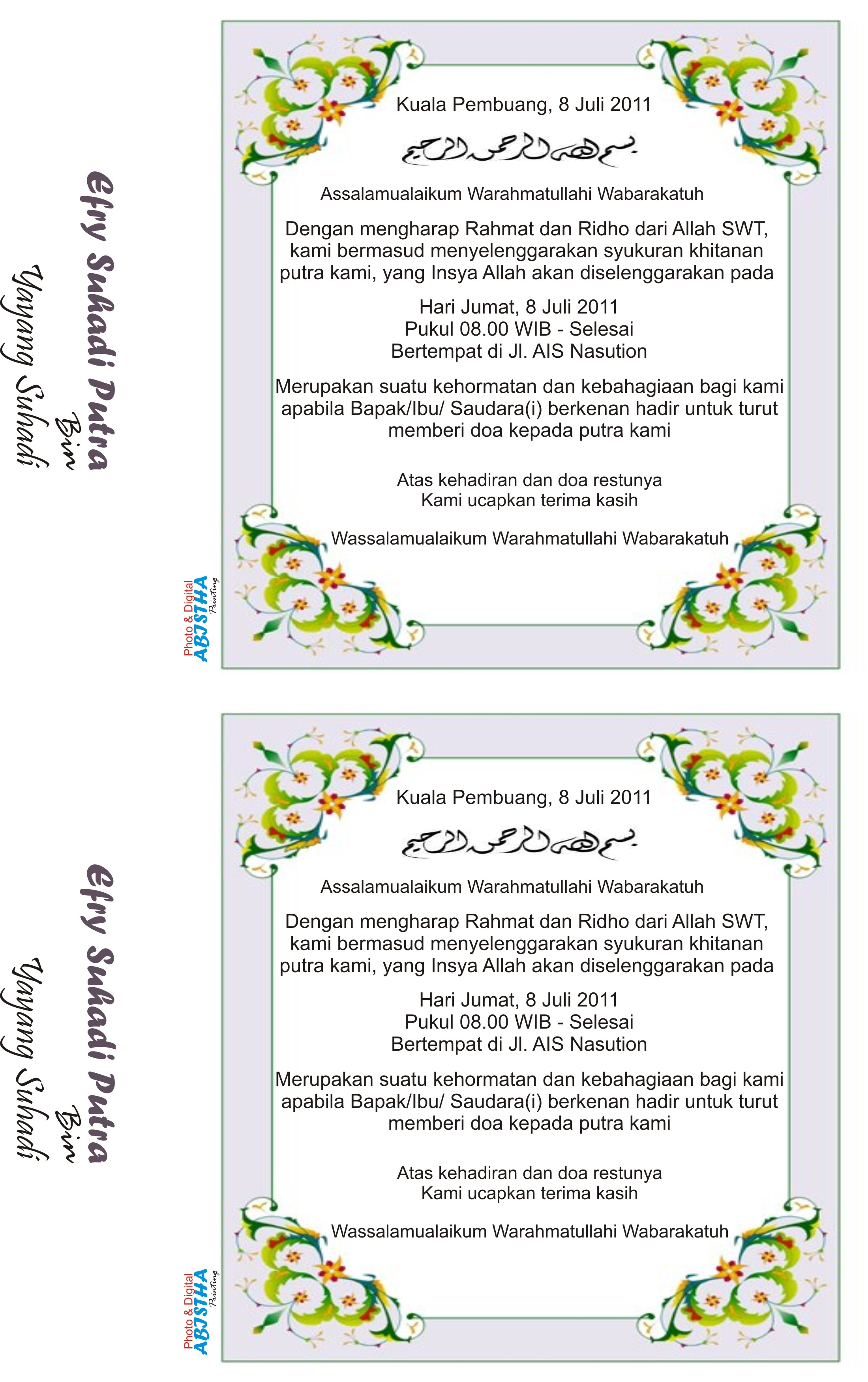 Undangan Khitanan Efry Taufik Irawan Official Site