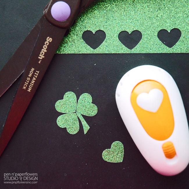 Make shamrocks with a mini heart punch