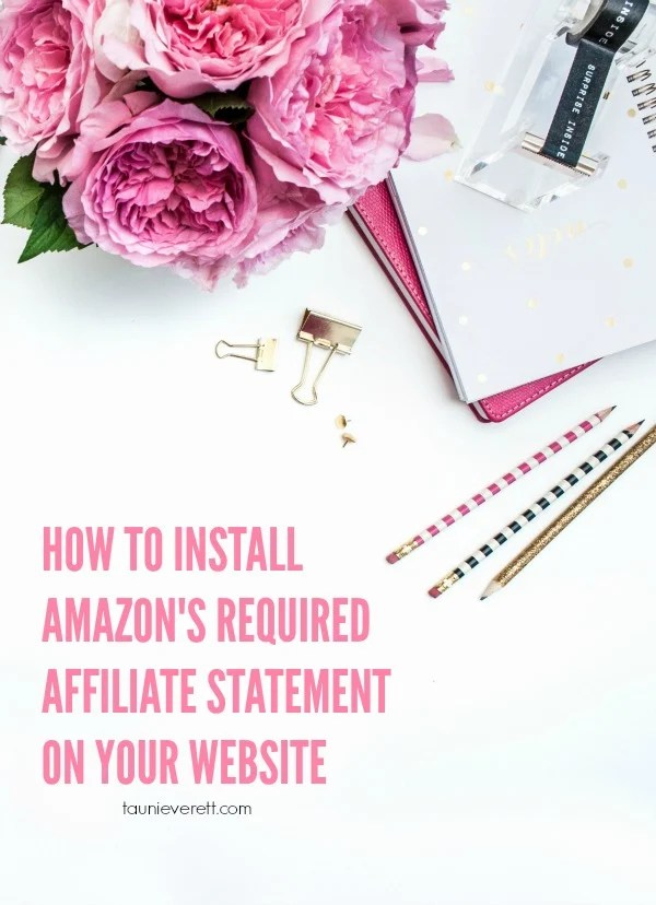 Blogging tip. How to Add an Amazon Affiliate disclosure to your site. If you utilize Amazon and you don't have this statement on your site, your account could get yanked!