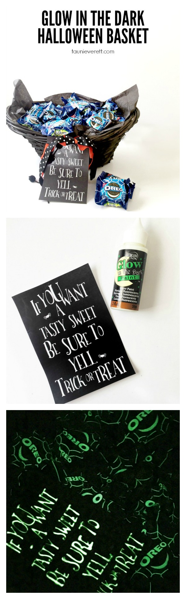 Glow in the dark Halloween treat basket. This is perfect for late night trunk or treat, parties, etc. I love the free printable too.