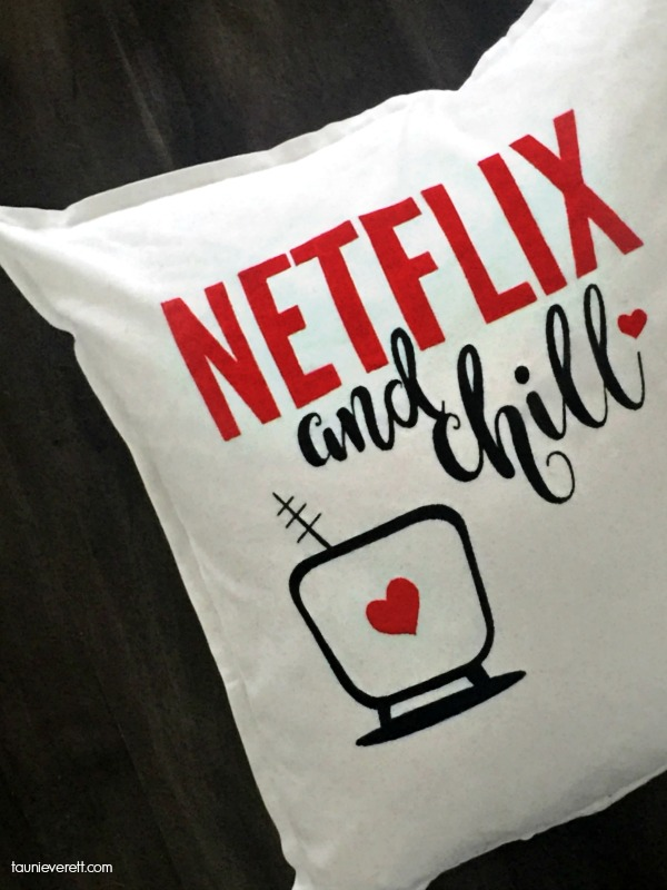 DIY Stenciled Netflix and Chill Valentine's Pillow. Stencil available for free download.