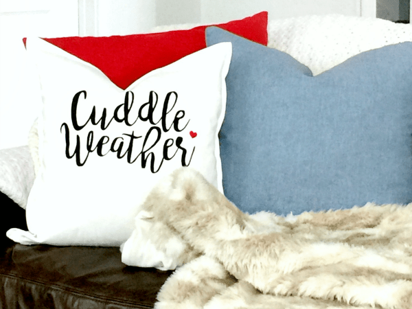 DIY Stenciled Valentine's Pillow with Cricut