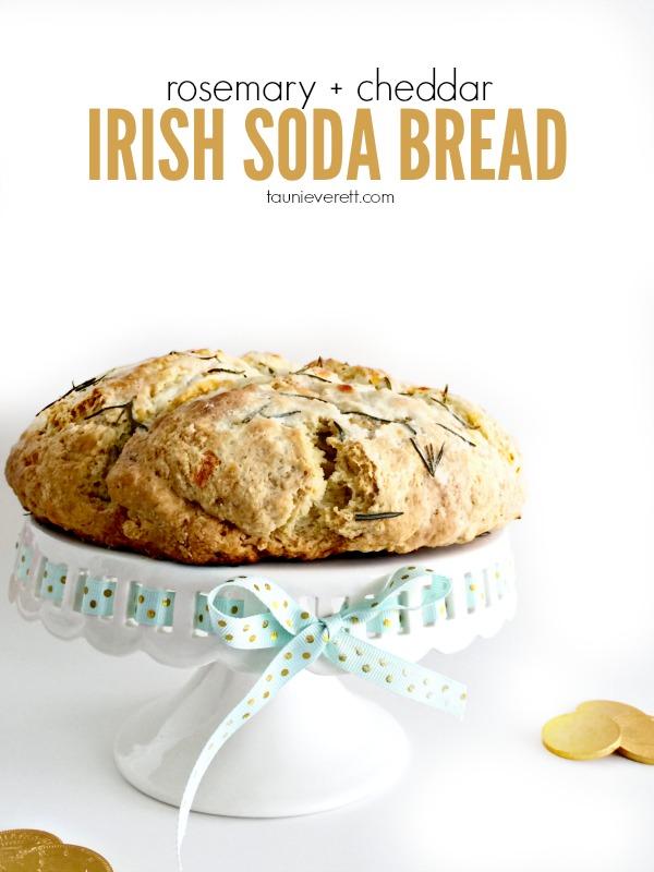 Rosemary cheddar Irish Soda Bread Recipe. Perfect for St. Patrick's Day!
