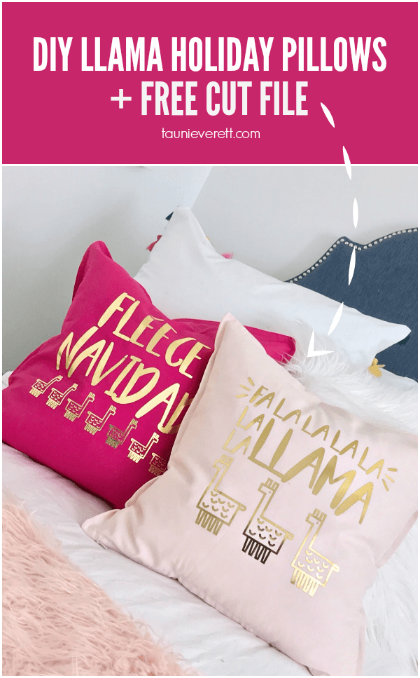 Diy holiday pillows fa la llama christmas hero © tauni everett