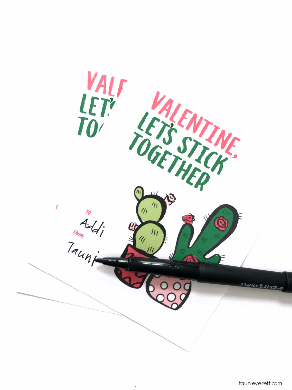Print + cut let's stick together cactus Valentine, available for immediate download #valentine #printable #valentinecard