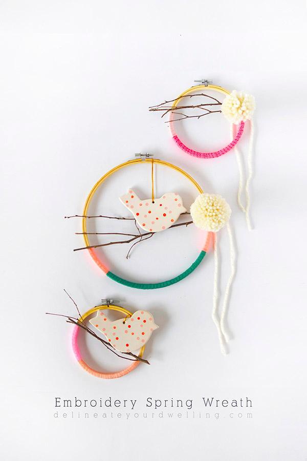 Dyd embroidery hoop wreath