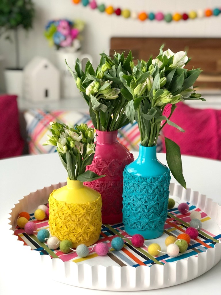 Tatertots and jello anthropologie inspired painted trim spring vases