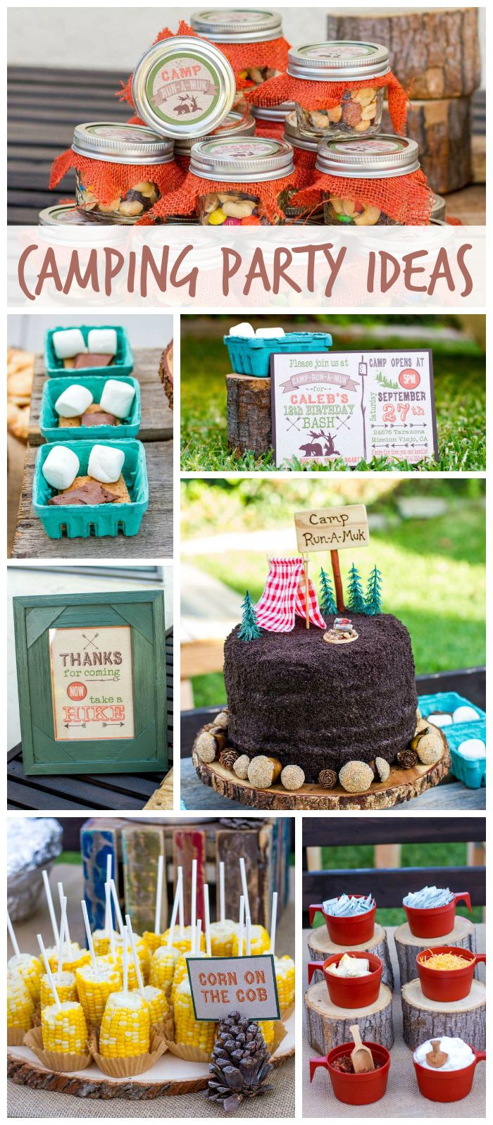 A Backyard Camping Boy Birthday Party With Fun Foods Smores Mason with regard to Backyard Camping Ideas For Children