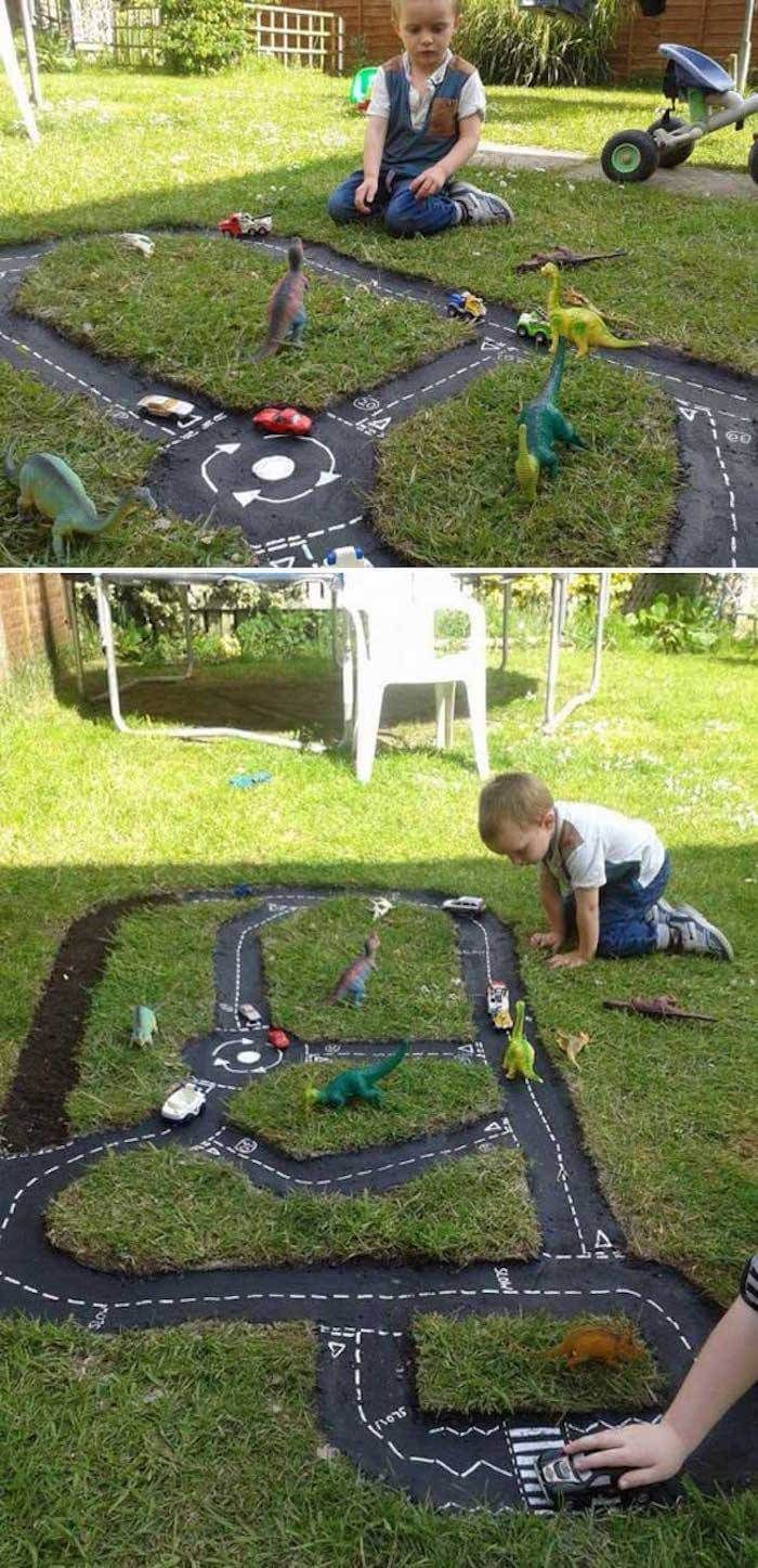 A Miniature Street For Racecar Fun Backyard Designs Backyard within Fun Backyard Ideas For Kids