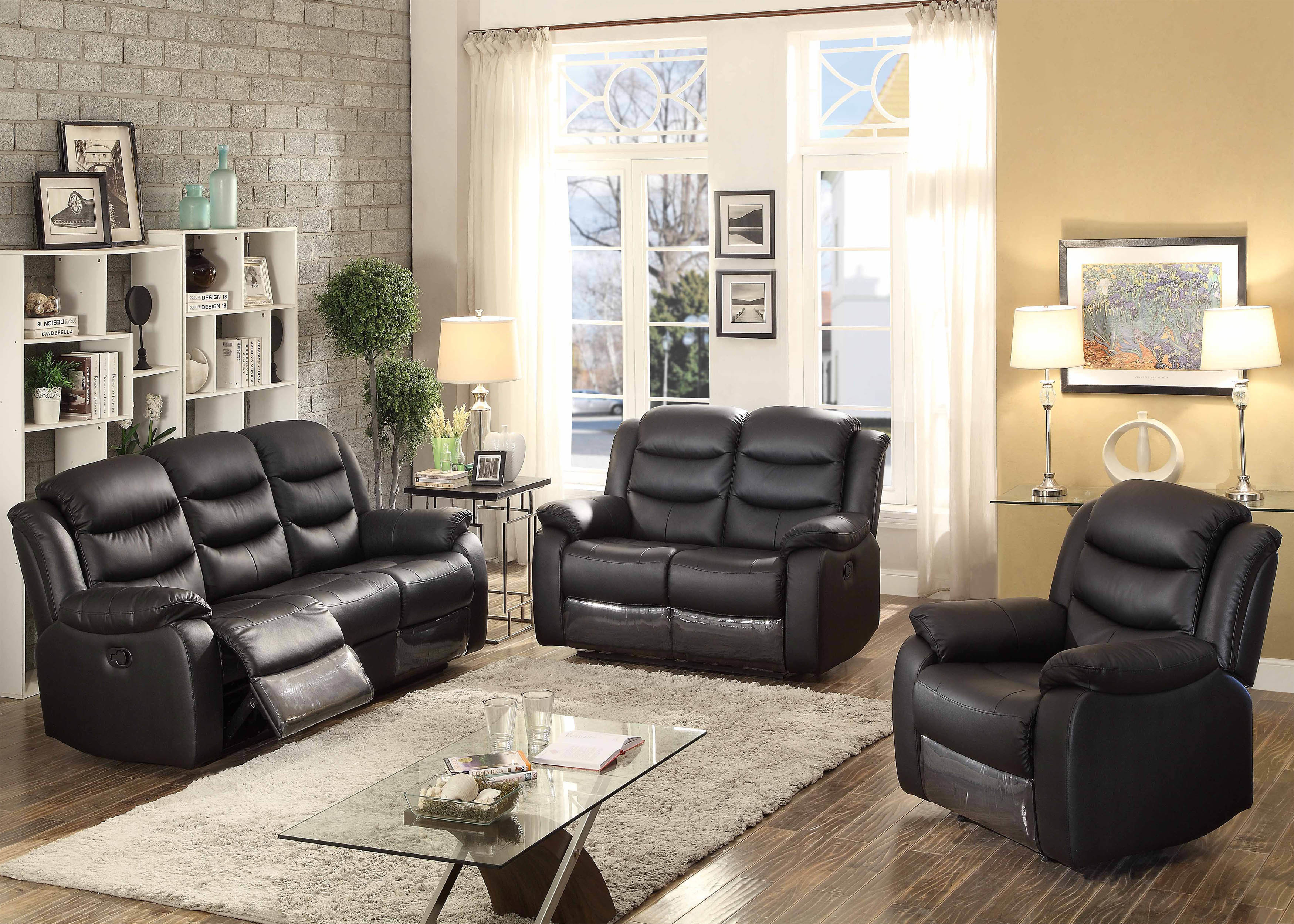Ac Pacific Bennett Reclining 3 Piece Leather Living Room Set Wayfair intended for 3 Piece Leather Reclining Living Room Set