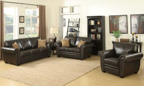 Ac Pacific Louis Brown 3pc Living Room Set The Classy Home in 10 Awesome Ways How to Craft Traditional Leather Living Room Sets