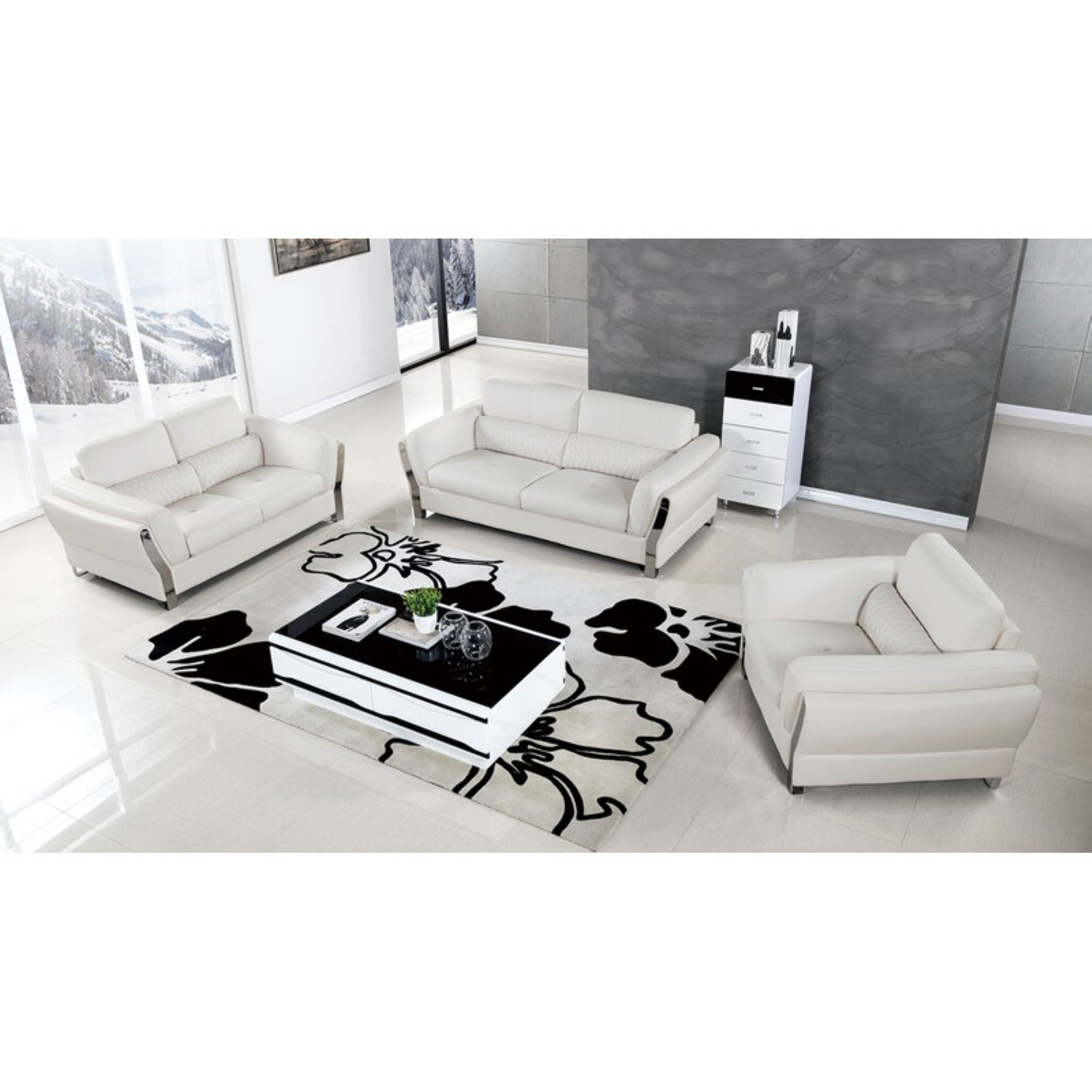 American Eagle Furniture Chelsea Upholstered 3 Piece Sofa Set With with Chelsea 3 Piece Living Room Set Black