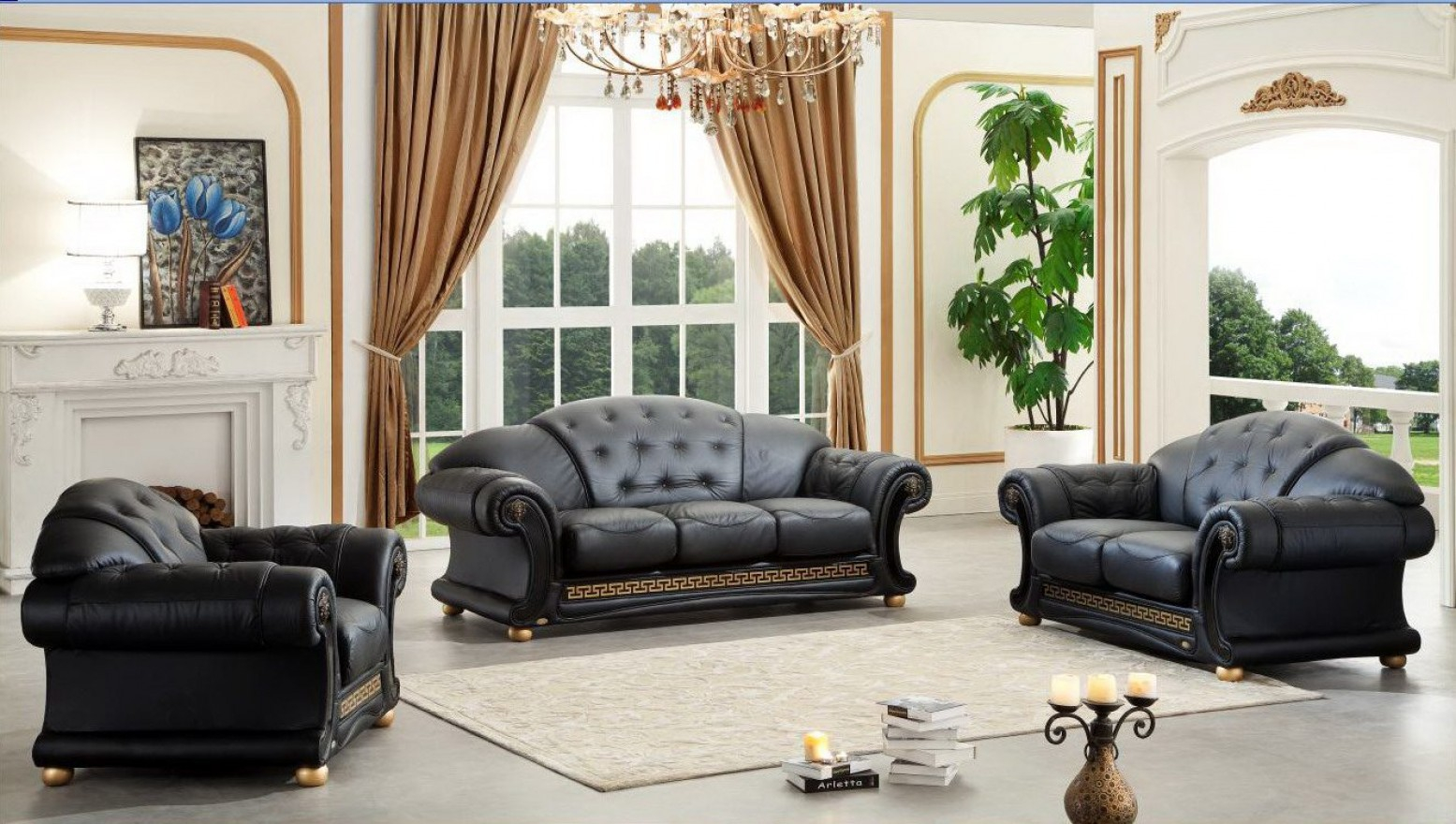 Apolo Leathersplit Living Room Set Esf Furniture Sohomod pertaining to 13 Smart Ways How to Craft Versace Living Room Set