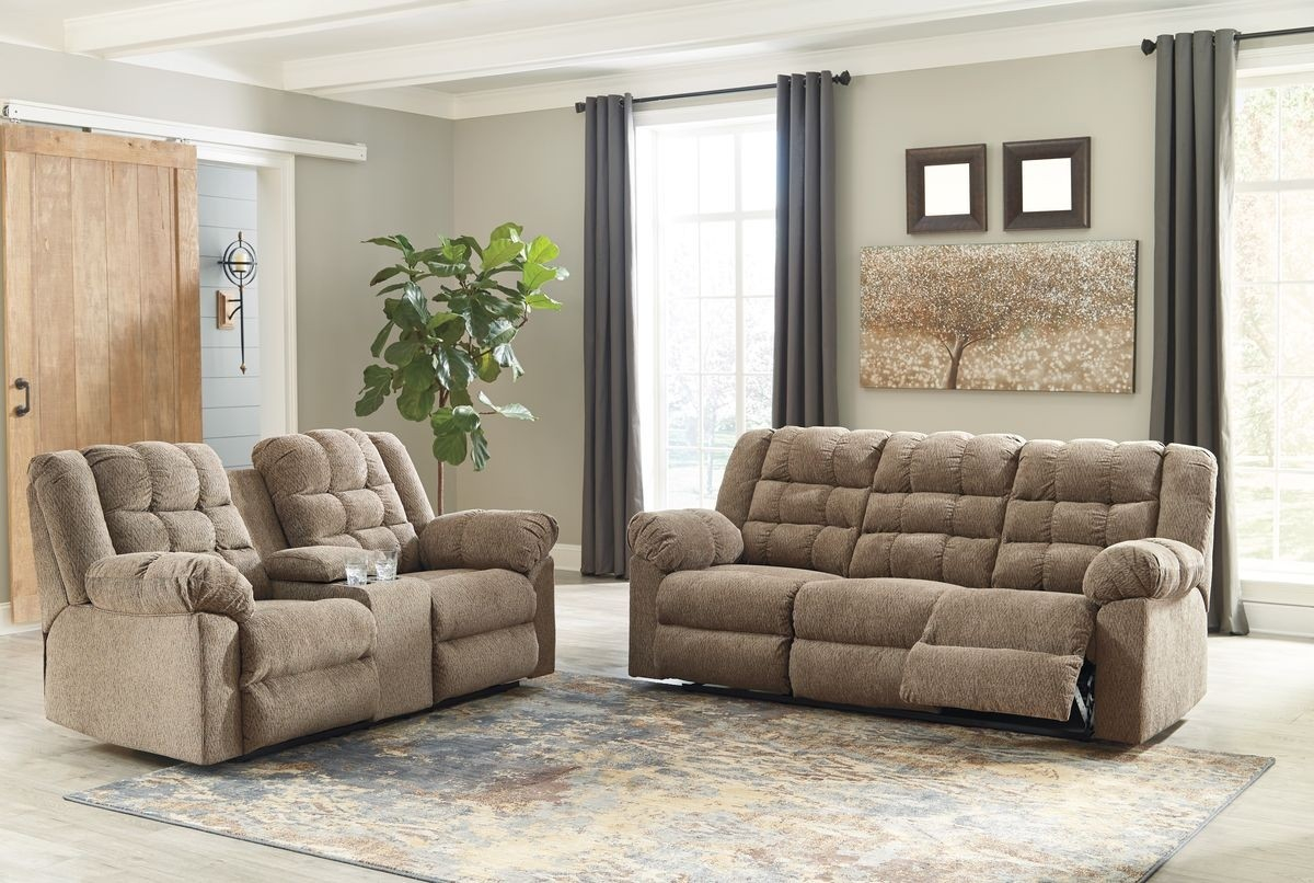 Ashley Furniture Workhorse Reclining Living Room Set In Cocoa pertaining to Recliner Living Room Set