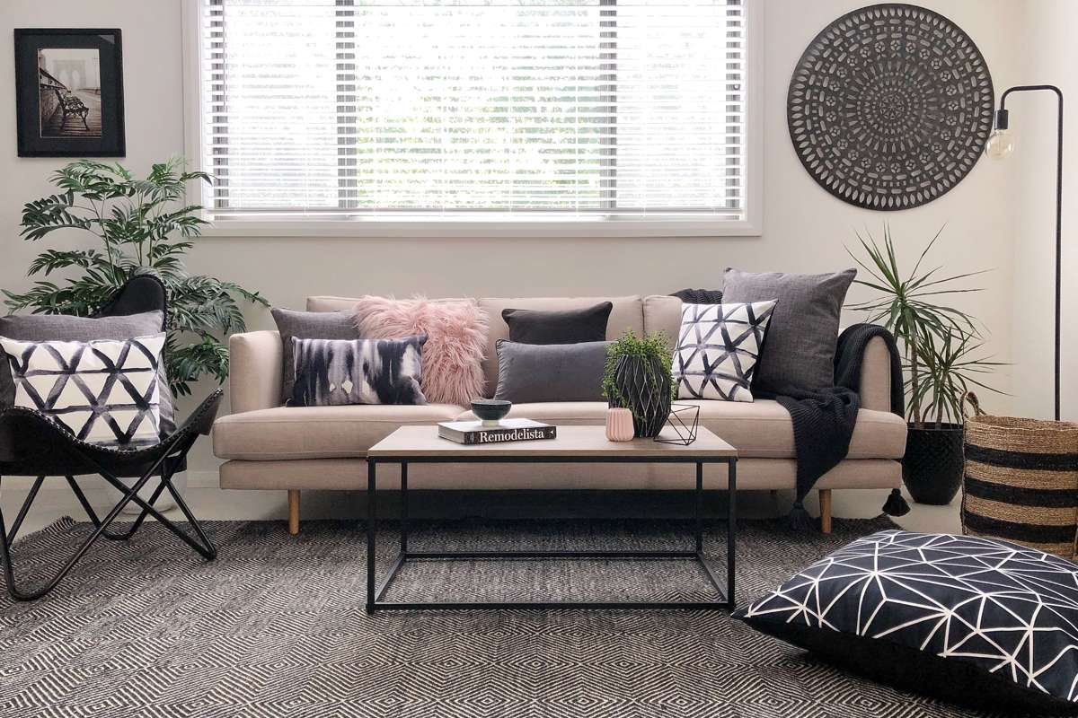 Aughie Collection Of Cushions Living Room Setting With Pink And Grey intended for Living Room Setting