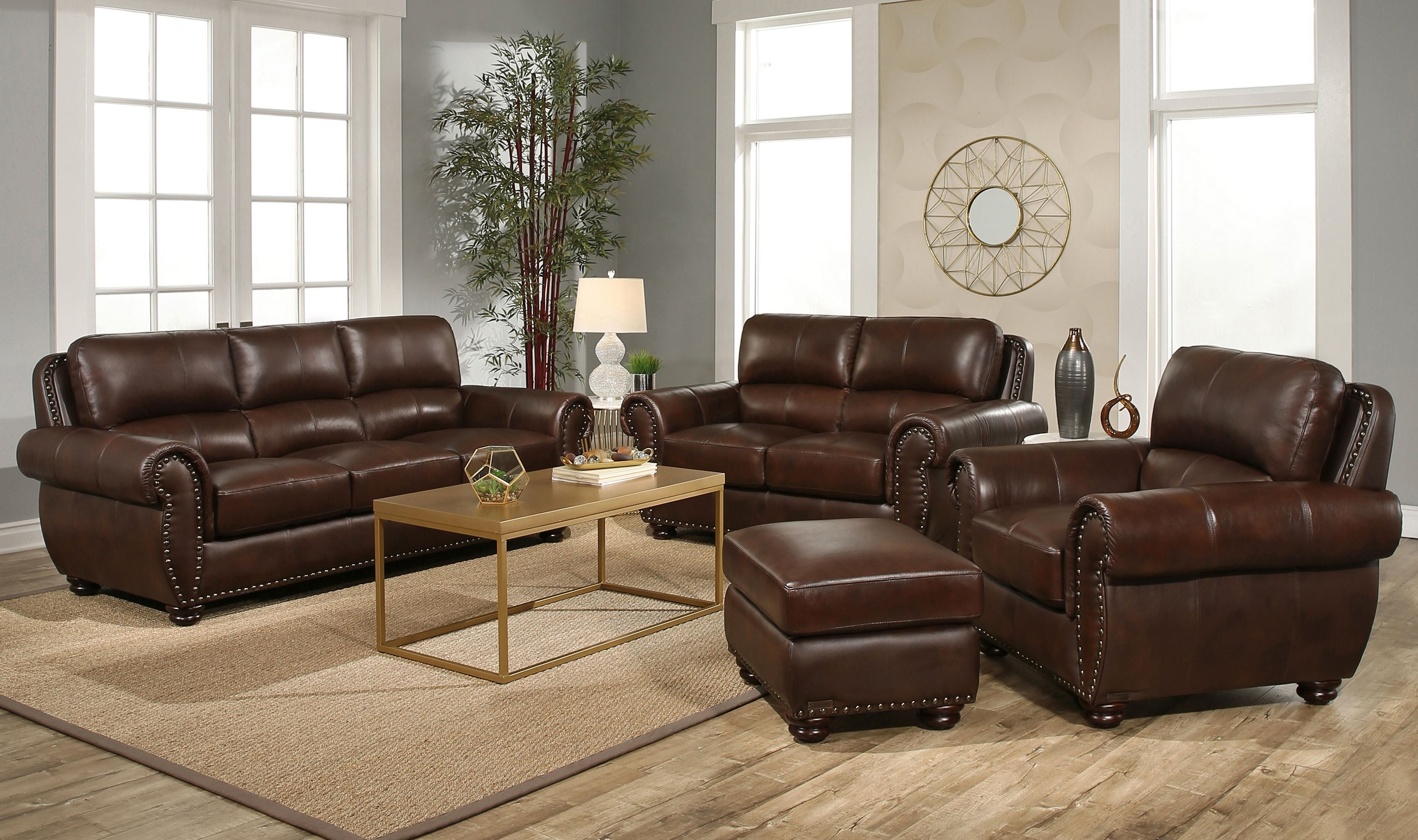 Austin 4 Piece Top Grain Leather Living Room Set in 10 Smart Tricks of How to Improve Costco Living Room Sets