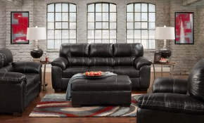 Austin Black Sofa And Loveseat Leather Living Room Sets in Black Leather Living Room Set