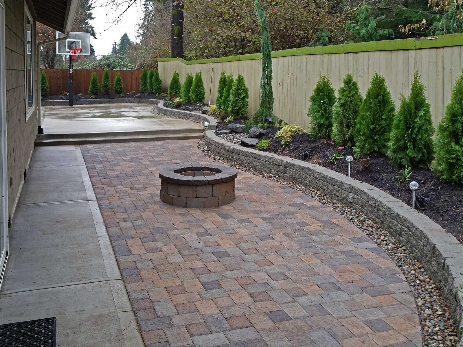 Backyard Paver Patio Connected To A Concrete Slab Basketball Court pertaining to Paver Backyard Ideas