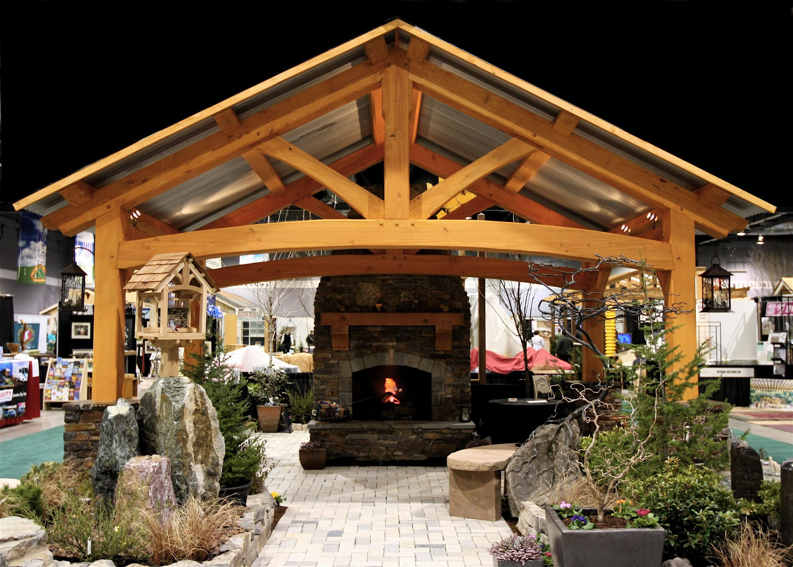Backyard Pavilion Kits Outdoor Living Room With A Fireplace in Pavilion Ideas Backyard