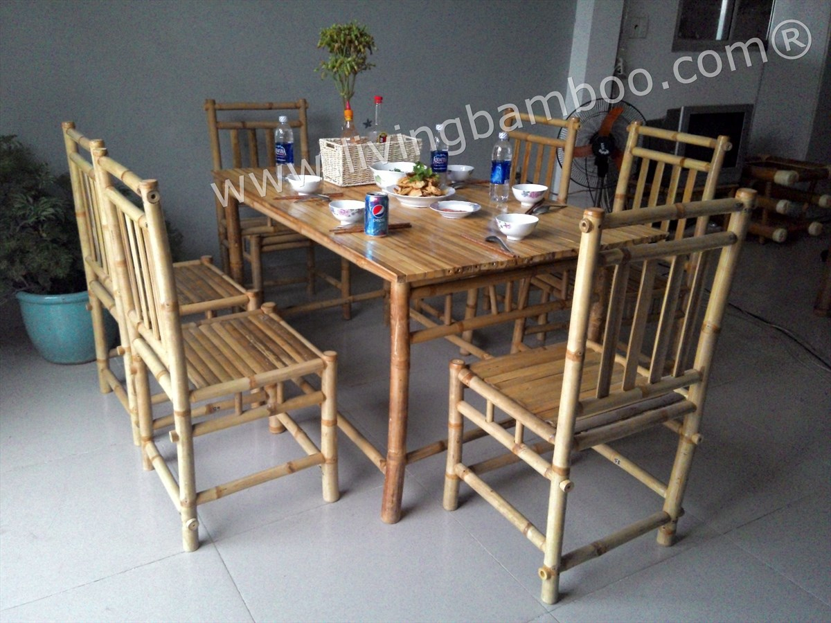 Bamboo Dining Room Binh Quoi Dining Set throughout Bamboo Living Room Set